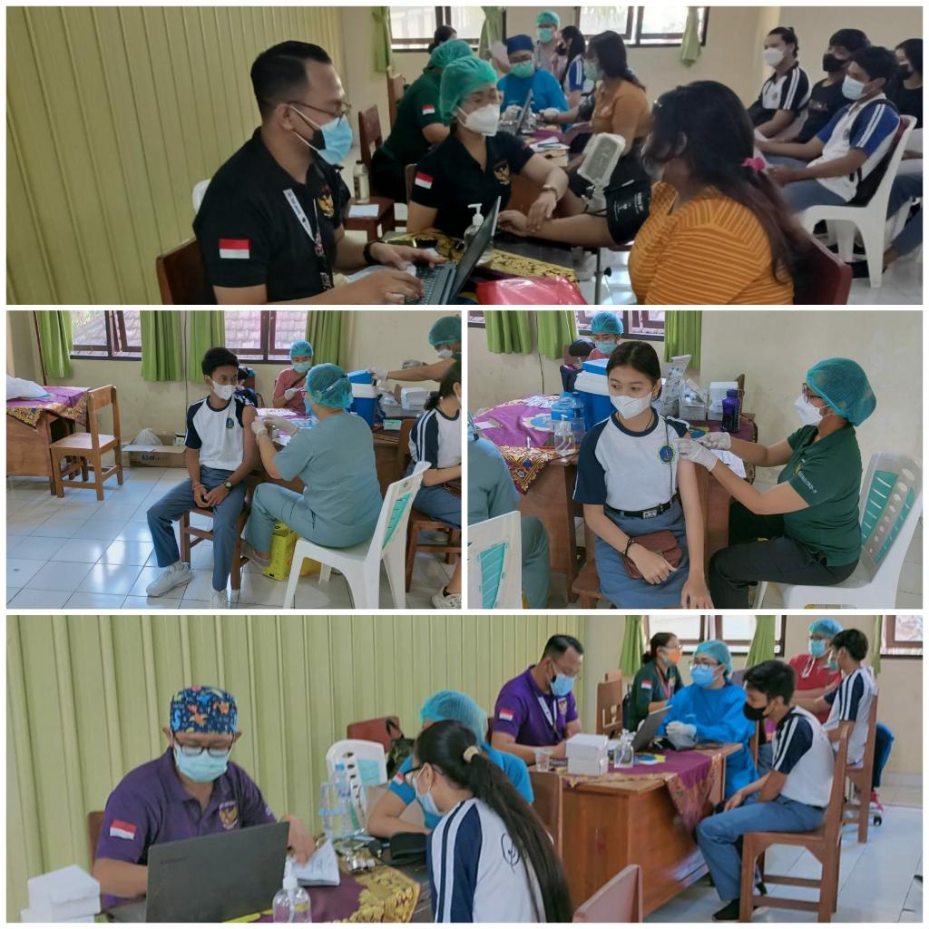 Pelaksanaan Vaksinasi Covid-19 bagi pelajar di SMAN 1 Kuta